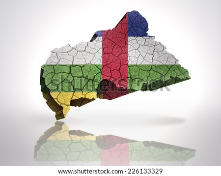 Map of Central African Republic  with CAR Flag on a white background - stock photo