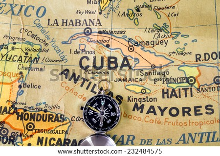 Map of Central America, the Antilles and the Caribbean written with misspellings. It comes from a Spanish school. Published 1969. - stock photo
