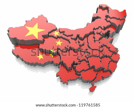 Map of China in national flag colors. 3d - stock photo
