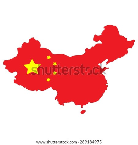 Map of China painted in the colors of the national flag - stock photo