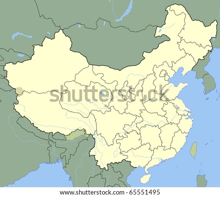 Map of China showing states with borders and major rivers. - stock photo
