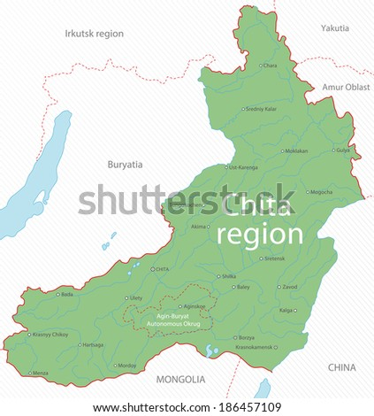 Map of Chita region, Russia - stock photo