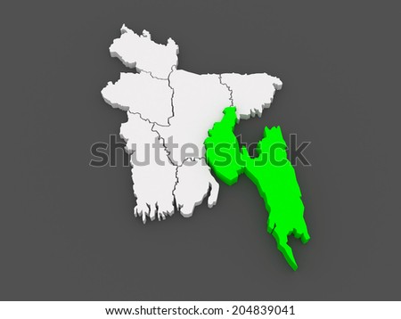 Map of Chittagong. Bangladesh. 3d