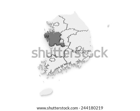 Map of Chungcheong. South Korea. 3d - stock photo