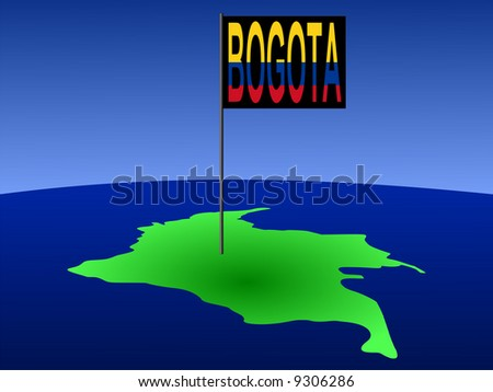 map of Colombia with position of Bogota marked by flag pole illustration JPG