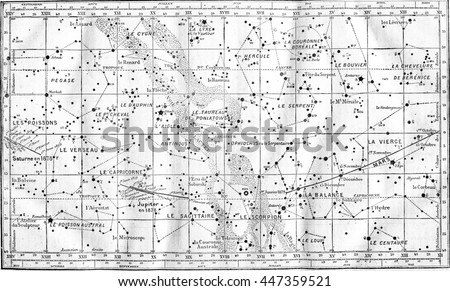 Map of Constellations. From Magasin Pittoresque, vintage engraving, 1878.
