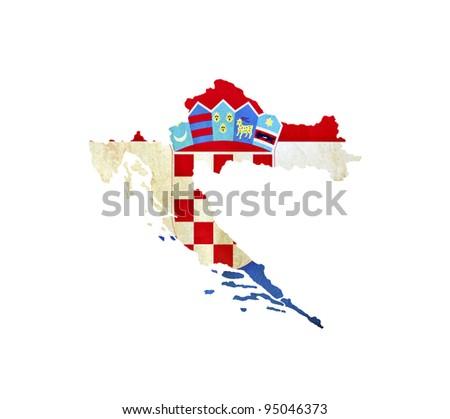 Map of Croatia isolated - stock photo
