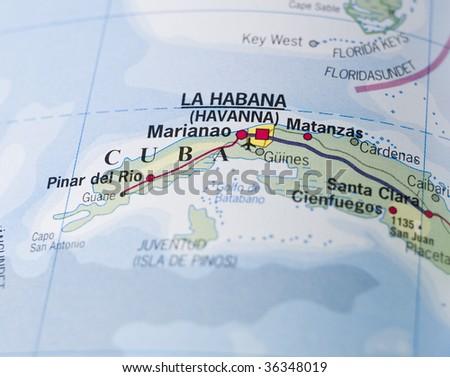 Map of Cuba - stock photo