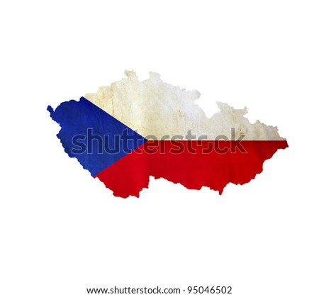 Map of Czech Republic isolated - stock photo