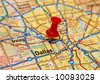 Map of Dallas with red push pin - stock photo