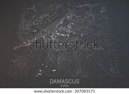 Map of Damascus, Syria, satellite view, map in 3d. Black and white - stock photo
