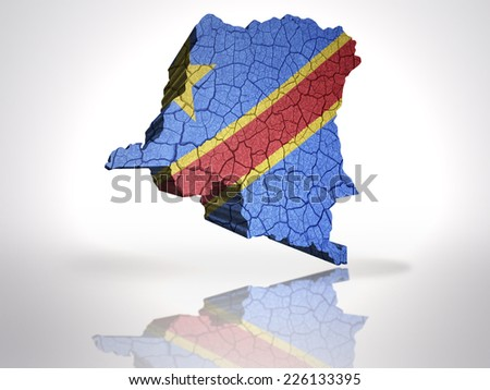 Map of Democratic Republic of Congo  with Congolese Flag on a white background - stock photo