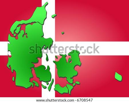 map of Denmark and Danish flag illustration JPG - stock photo