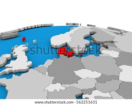 Map of Denmark highlighted in red on simple globe. 3D illustration