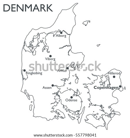 Map of Denmark | Monochrome contour map with city names