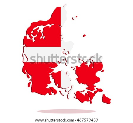 map of denmark with flag