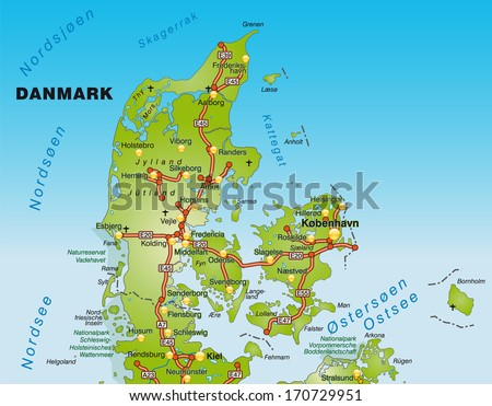 Map of Denmark with highways   - stock photo
