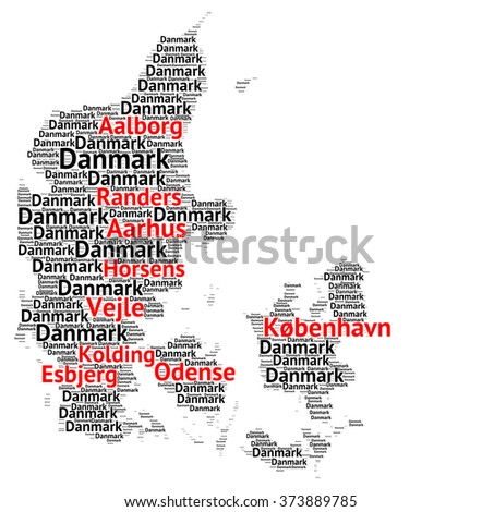 Map of Denmark with the biggest cities - stock photo