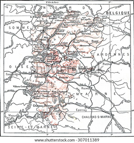 Map of Department of Aisne, vintage engraved illustration. Dictionary of words and things - Larive and Fleury - 1895.