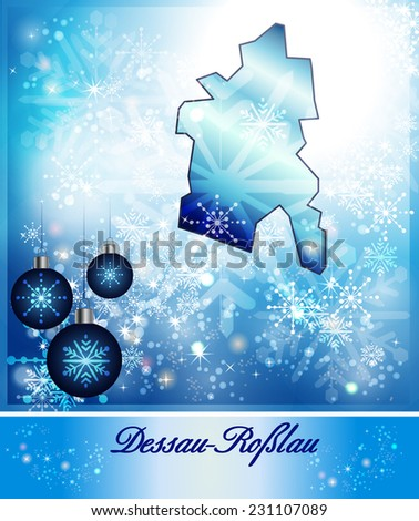 Map of Dessau-Rosslau in Christmas Design in blue