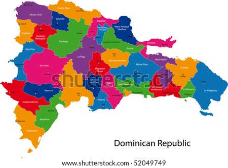 Map of Dominican Republic with the provinces colored in bright colors - stock photo