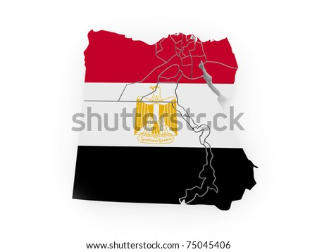 Map of Egypt in egyptian flag colors. 3d