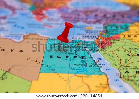 Map of Egypt with a red pin - stock photo