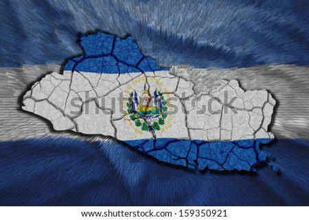 Map of El Salvador in National flag colors - stock photo