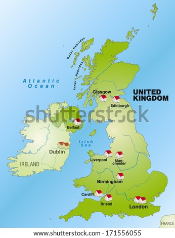 Map of England as an infographic in green - stock photo