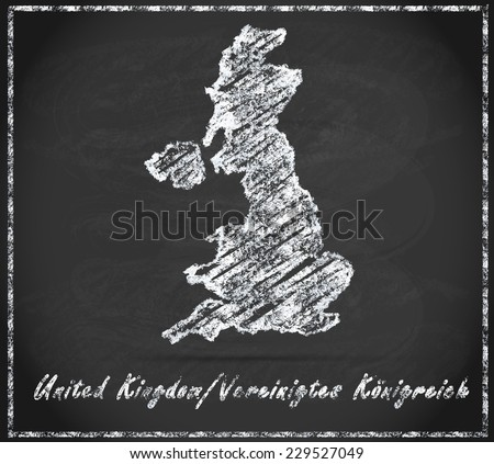 Map of England as chalkboard  in Black and White - stock photo