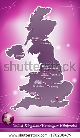 Map of England with abstract background in violet - stock photo