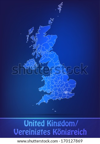 Map of England with borders as scrible - stock photo