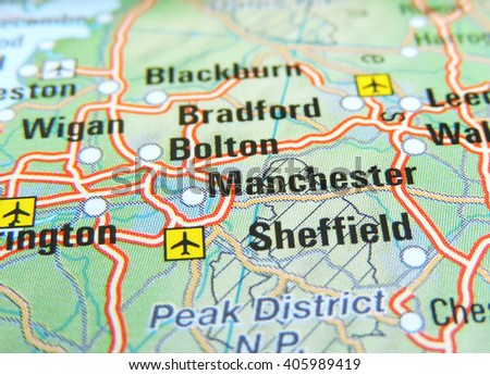Map of England with focus on Manchester - stock photo
