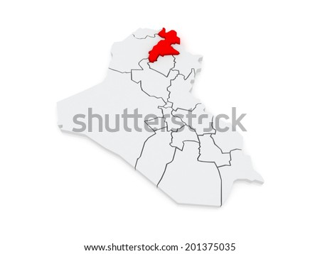 Map of Erbil. Iraq. 3d