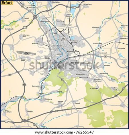 Map Erfurt State Capital Thuringia Stock Illustration 96265547