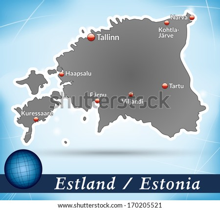 Map of Estonia with abstract background in blue