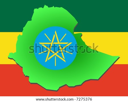 map of Ethiopia and their flag illustration JPG