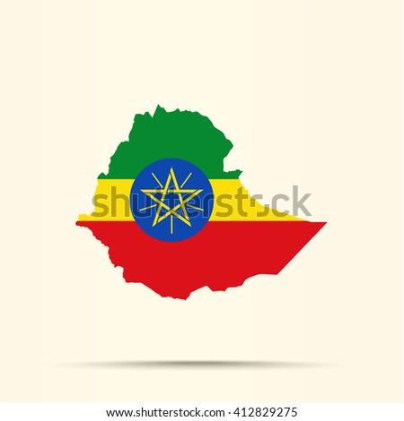 Map of Ethiopia in Ethiopia flag colors - stock photo
