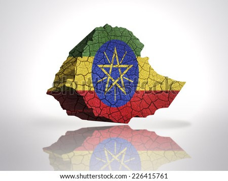 Map of Ethiopia with Ethiopian Flag on a white background - stock photo