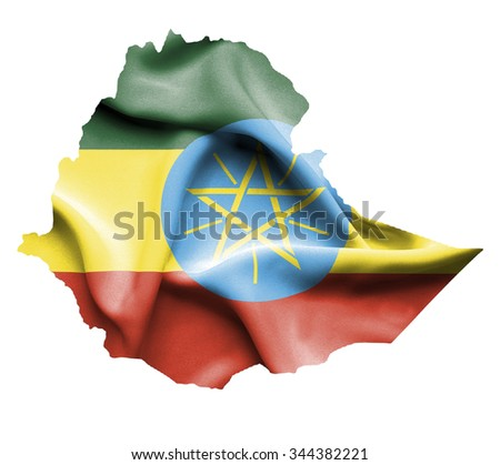 Map of Ethiopia with waving flag isolated on white - stock photo