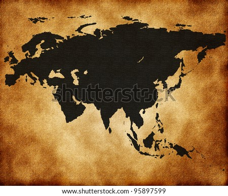 Map of Eurasia on the old texture
