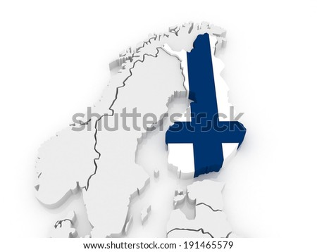 Map of Europe and Finland. 3d - stock photo