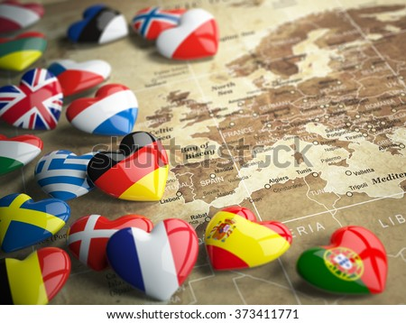 Map of Europe and hearts with flags of european countries. Travel EU concept. 3d - stock photo