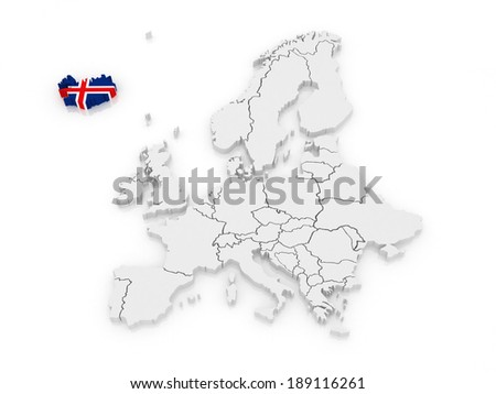 Map of Europe and Iceland. 3d - stock photo