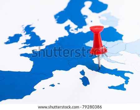 Map of Europe and pins - stock photo