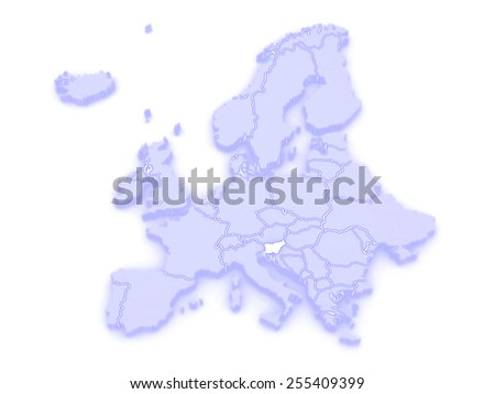 Map of Europe and Slovenia. 3d - stock photo