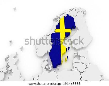 Detailed Vector Map Sweden Europe Stock Vector Shutterstock - Sweden map of europe