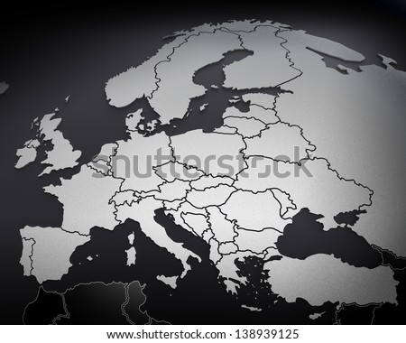 map of europe arched on sphere. 3d render - stock photo