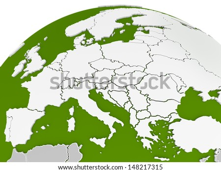 map of europe arched on sphere or globe. 3d render - stock photo