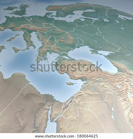 Map of Europe, Asia, Middle East, Crimea and Ukraine. Elements of this image furnished by NASA - stock photo
